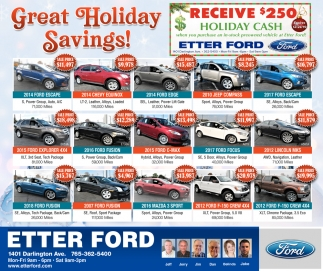 Great Holiday Savings!