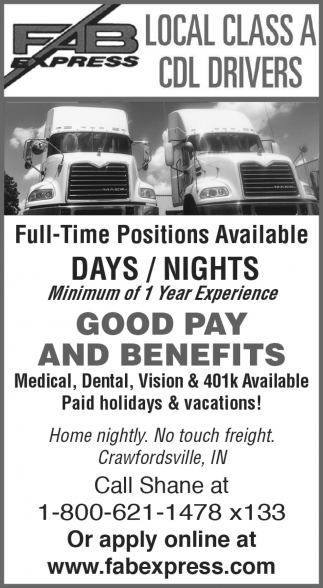 Local Class A CDL Drivers