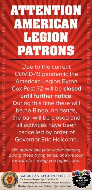 Attention American Legion Patrons